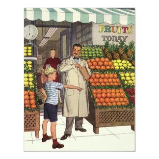 Negócio do vintage, suporte de fruta com convite 10.79 x 13.97cm