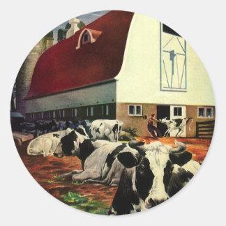 Negócio do vintage, vacas de leite de w Holstein Adesivo Em Formato Redondo