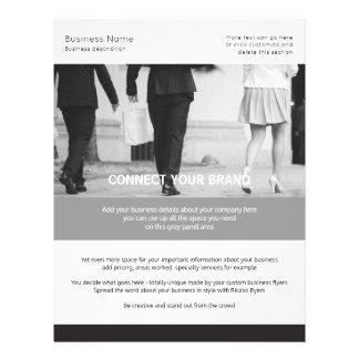 Negócio feito-à-medida preto e branco temático flyer
