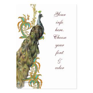 Negócio filigrana do ouro do pavão/cartão lugar da modelo cartões de visita