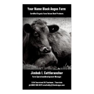 Negócio preto do rancho ou da fazenda da carne de  cartao de visita