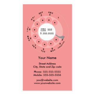 Negócio retro/cartão de visita do rosa do telefone