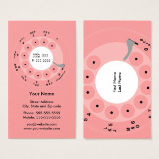 Negócio retro/cartão de visita do rosa do telefone cartão de visitas