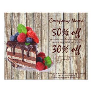 negócio rústico da padaria do país do bolo de choc flyer 11.43 x 14.22cm