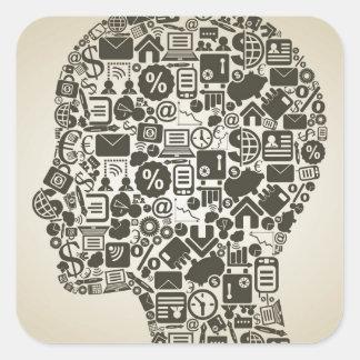 Negócio uma cabeça adesivo quadrado