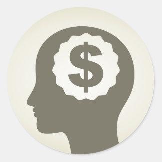 Negócio uma cabeça adesivo redondo