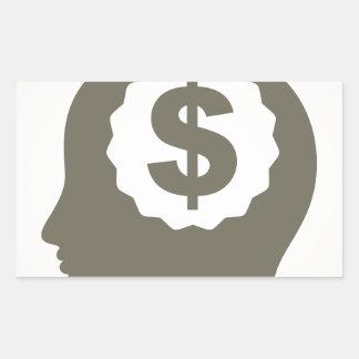 Negócio uma cabeça adesivo retangular