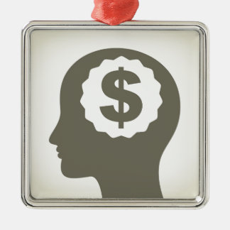 Negócio uma cabeça ornamento de metal