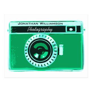 Negócio verde retro da fotografia da câmera de cartão postal