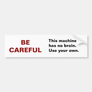 Nenhum autocolante no vidro traseiro do cérebro adesivo