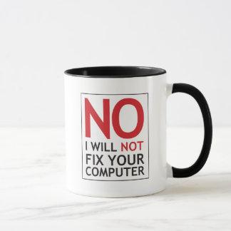 Nenhum eu não fixarei seu computador caneca