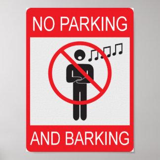 Nenhum poster do estacionamento e do descascamento