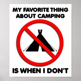 Nenhum poster engraçado de acampamento pôster