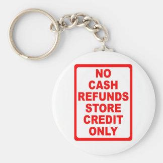 Nenhum sinal de crédito da loja dos reembolsos de  chaveiro