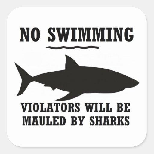 Nenhuma etiqueta da natação adesivo quadrado