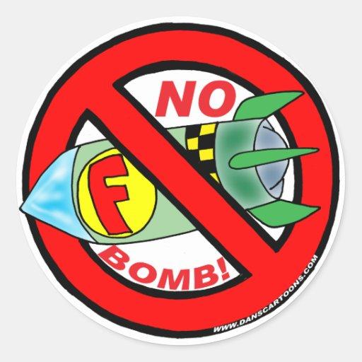 NENHUMAS ETIQUETAS DE F-BOMB ADESIVOS REDONDOS