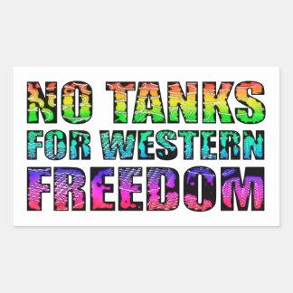 Nenhuns tanques para a liberdade ocidental adesivos em forma retangular