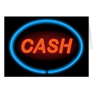 Néon do dinheiro cartão