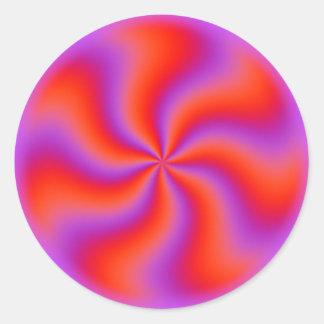 Néon engraçado espiral hipnótico da ilusão óptica adesivo redondo