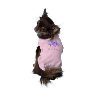Néon geométrico de UrbnCape na camiseta de cão