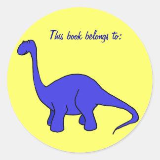 Neste livro pertence a: etiqueta do dinossauro adesivos em formato redondos