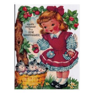 neta do feliz aniversario do vintage dos anos 30 cartão postal