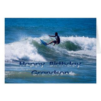 Neto do feliz aniversario do surfista cartão comemorativo