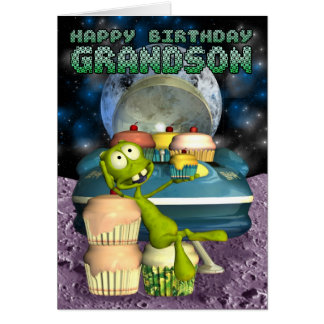 Neto do feliz aniversario, fora deste mundo, cartão comemorativo