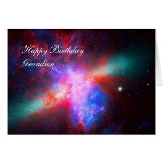 Neto do feliz aniversario - galáxia do charuto cartão comemorativo
