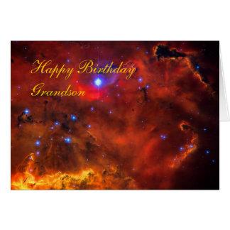 Neto do feliz aniversario, nebulosa da emissão em cartão comemorativo