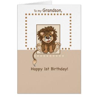 Neto, leão feliz do bebê do primeiro aniversario cartão comemorativo