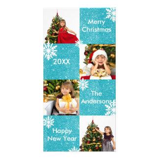 Neve azul do brilho de 8 quadrados - cartões de cartão com foto
