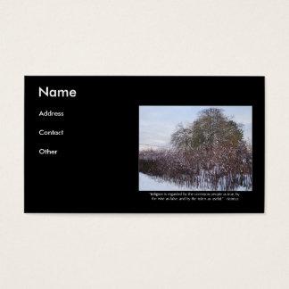 Neve, bambu e árvores com citações do Seneca Cartão De Visitas