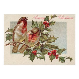 Neve do azevinho das aves canoras do pássaro do convite 12.7 x 17.78cm