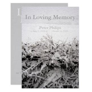 Neve do inverno em funeral Loving da memória Convite 8.89 X 12.7cm