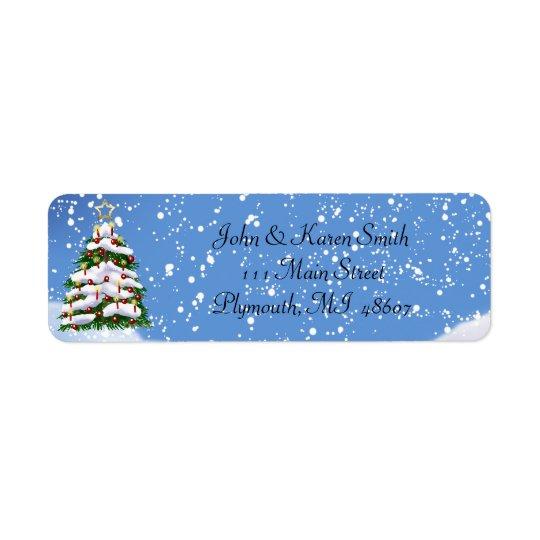 Neve e etiqueta de endereço da árvore de Natal