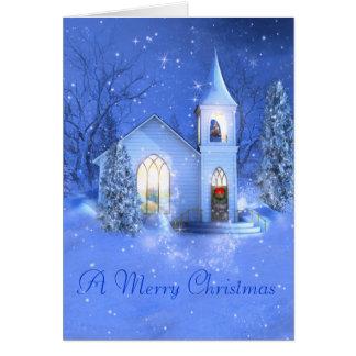 Neve, igreja, cartão do Natal