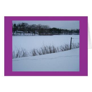 Neve na lagoa (boas festas) cartão comemorativo