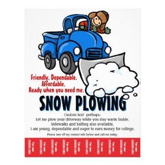 Neve que ara o serviço. Negócio da remoção de neve Panfleto Coloridos
