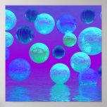 Névoa violeta - luz abstrata ciana e do roxo pôsteres