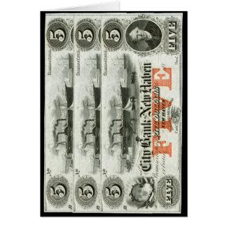 New Haven 1855 nota de cinco dólares Cartão Comemorativo