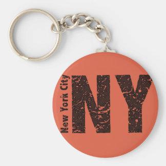 """New York 2,25"""" chaveiro básico do botão"""