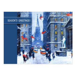 New York, cartão do Natal de Winter.Customizable