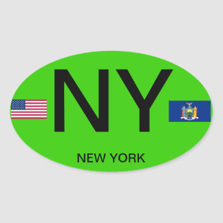 New York - etiqueta européia do Oval do estilo Adesivo Oval