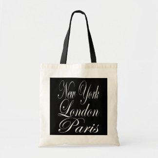 New York Londres Paris - slogan da tipografia Sacola Tote Budget