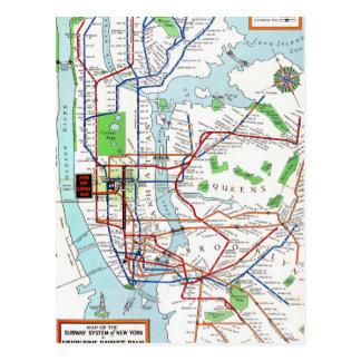 New York: Metro Mapa, 1940 Cartão Postal