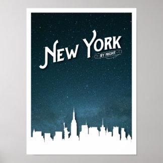 New York pela skyline da noite - poster