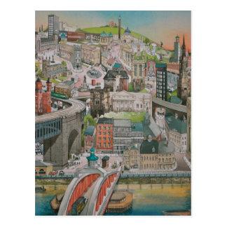Newcastle em cima do cartão de Tyne ao longo dos