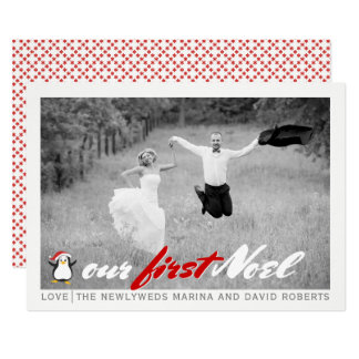 Newlywed moderno - cartão com fotos liso vermelho