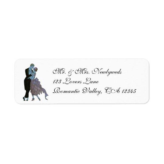 Newlyweds do art deco do vintage, dança do etiqueta endereço de retorno